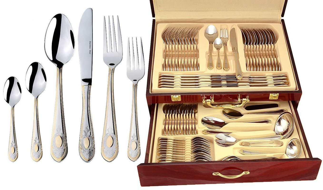 Italian Collection 'Windsor' 75-Piece Premium Surgical Stainless Steel Silverware Flatware Set 18/10, Service for 12, 24K Gold-Plated Hostess Serving Set in a Wooden Case by Italian Collection