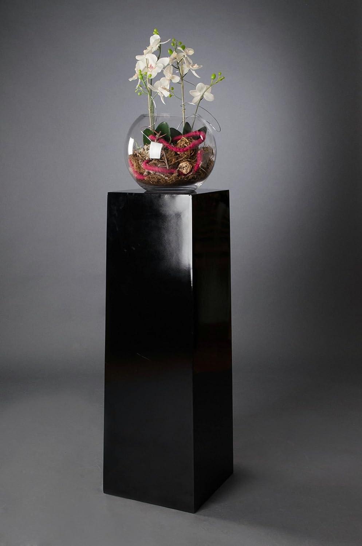 Podest Pflanzkübel Kombi Kambio Fiberglas, 100 cm, Schwarz Hochglanz