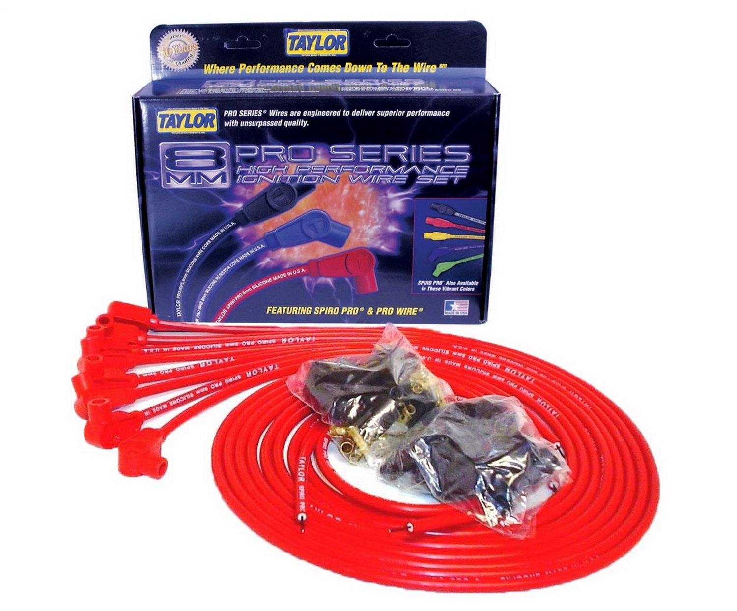 Taylor Cable 73251 Spiro-Pro Red Spark Plug Wire Set by Taylor Cable
