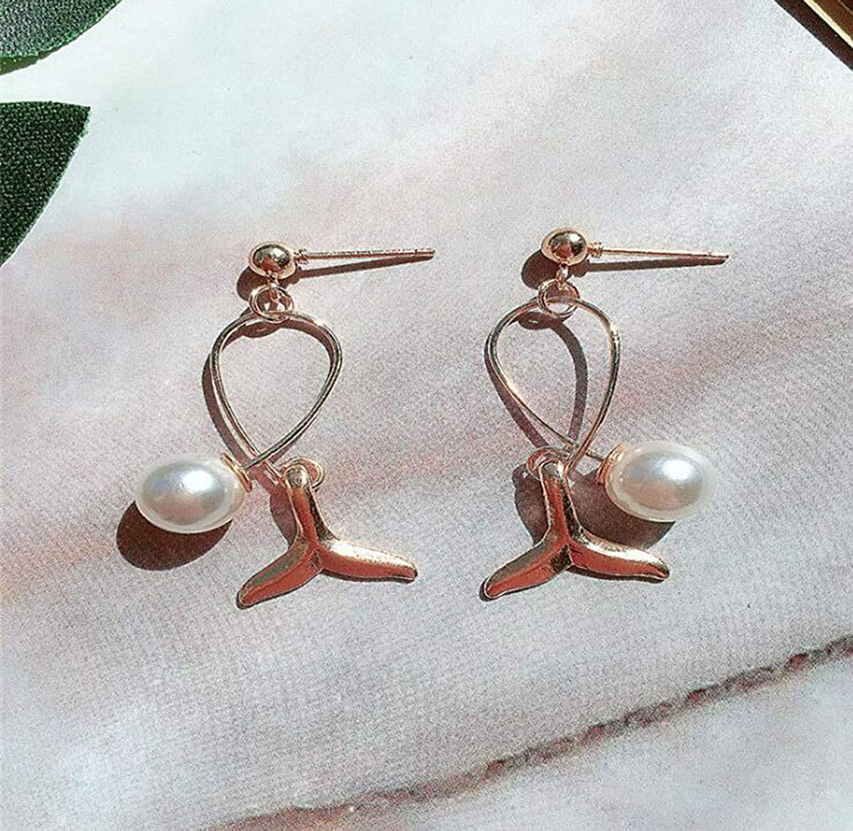 Libaraba Fish Tail with Simulated Pearl Stud Earrings with Heart Jewelry Box,Fish Earrings for Women