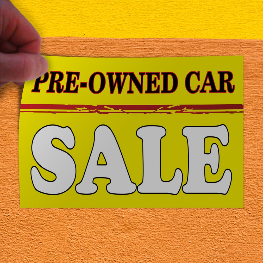 Set of 2 54inx36in Decal Sticker Multiple Sizes Pre-Owned Car Sale #2 Style A Automotive Pre Owned Car Sale Outdoor Store Sign Yellow