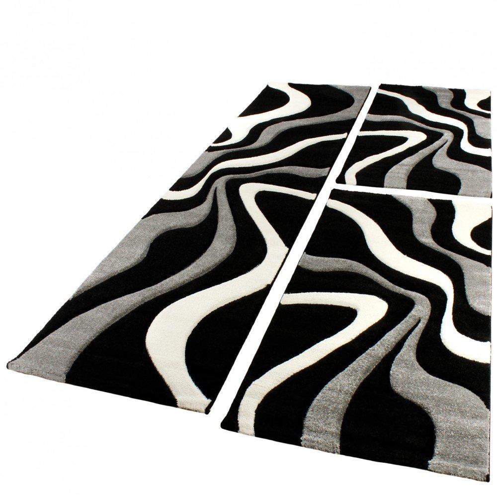 PHC Bettumrandung Läufer Teppich Trendig Modern Grau Schwarz Weiss Läuferset 3Tlg, Grösse 2mal 80x150 1mal 80x300