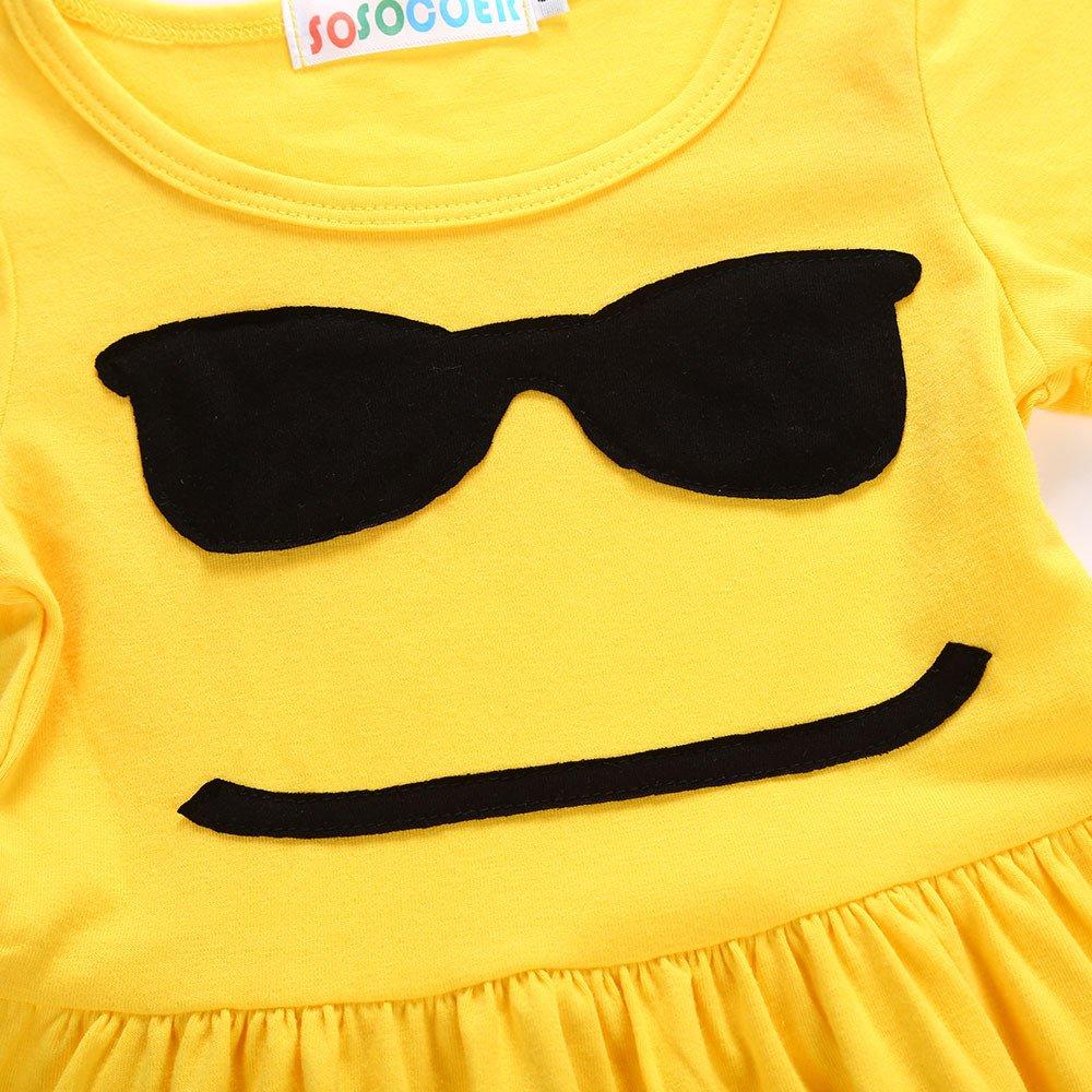 Jimmackey Neonata Bambine Vestito Emoji Smiley Abiti Ginocchio-Lunghezza Dress