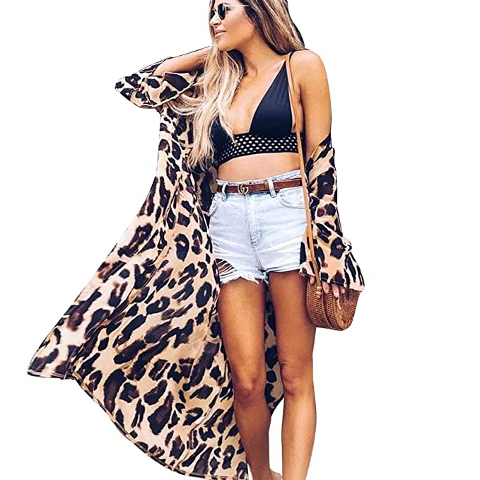 6a79a77fc84e0 Women Bikini Swimsuit Cover Up Leopard Print Beach Cardigan Summer Swimwear  (Color : Leopard Print