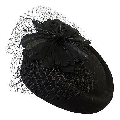 7bead1eb6e1e96 Viva-la-Rosa Ladies VTG 1940s Retro WW2 Wartime Black Pill Box Hat with