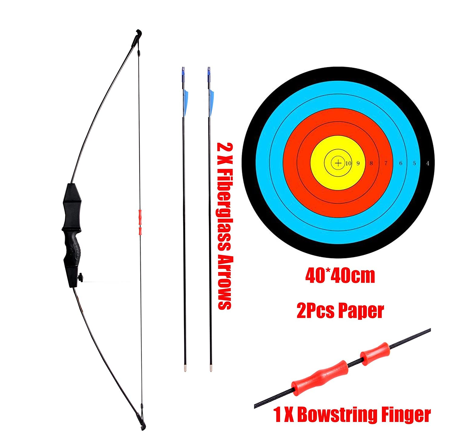 ZSHJG Youth Recurve Bow and Arrow Set Children Junior Archery 45 Target Practice Kids Gift Including 6 Arrows