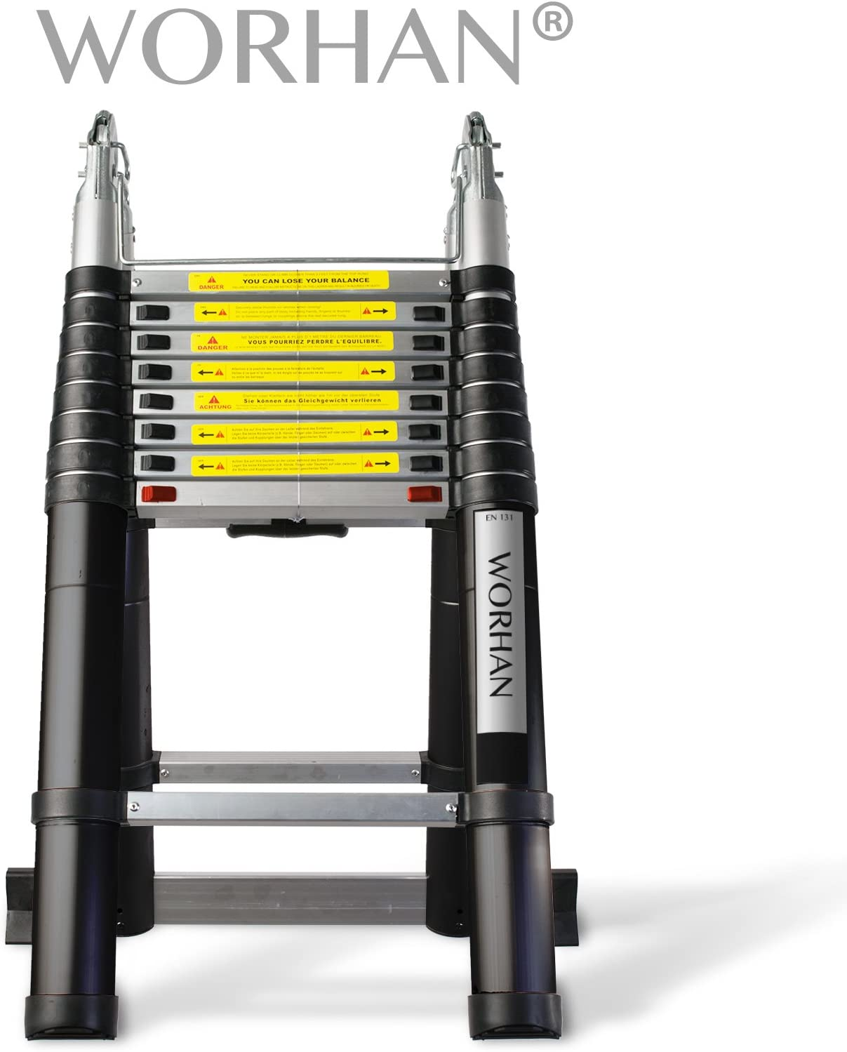 Escalera multifunción de aluminio con cierre suave de la marca WORHAN®: Amazon.es: Bricolaje y herramientas
