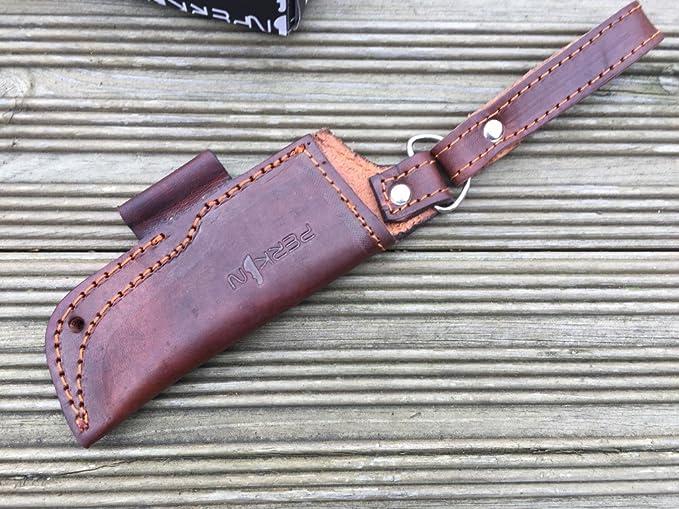 Funda de cuchillo de piel para caza, hecha a mano: Amazon.es ...