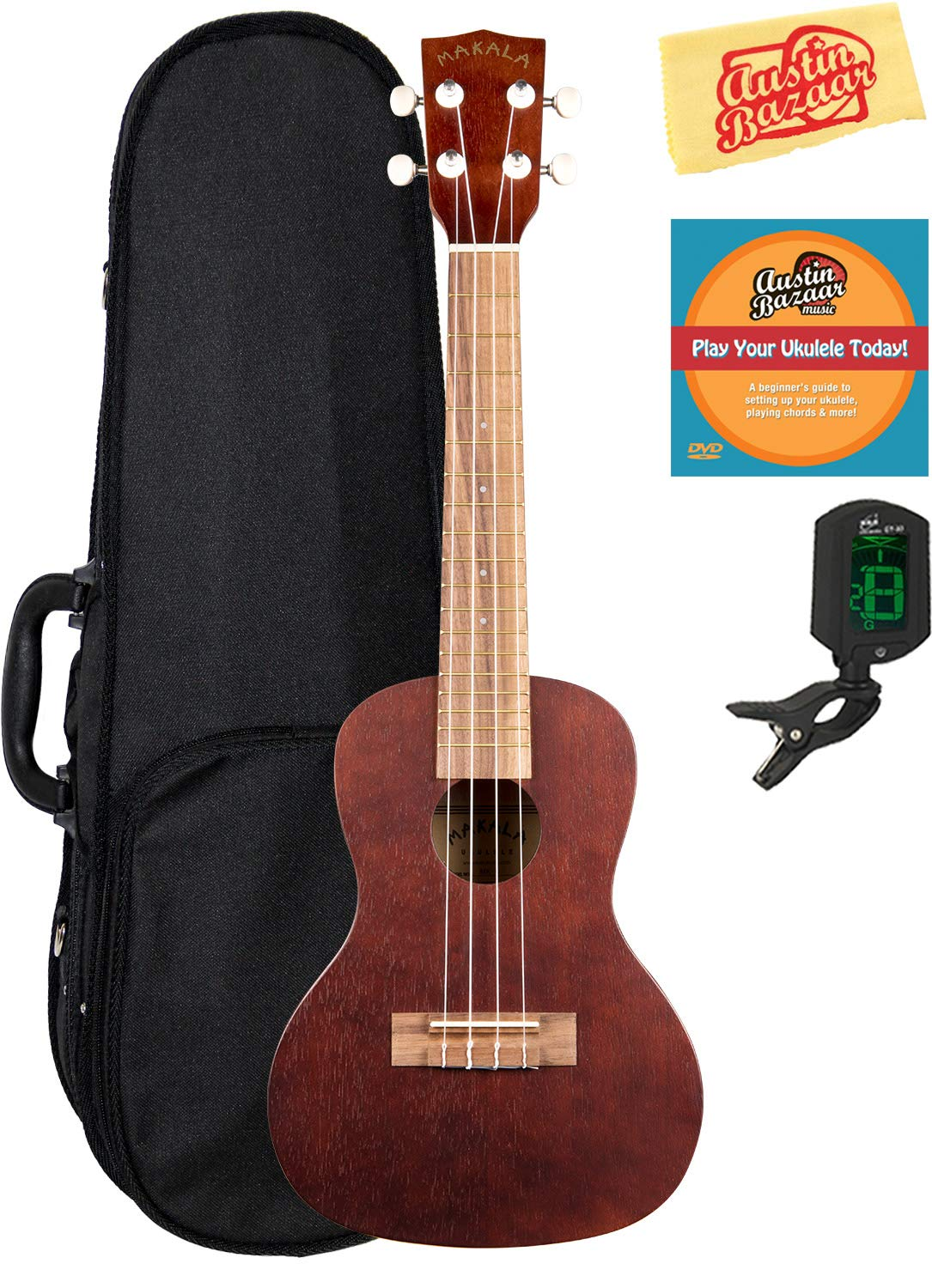 Kala KA-MK-C Makala Concert Ukulele Bundle with Hard Case, Cherub Tuner, and Polishing Cloth MK-C-COMBO-DLX