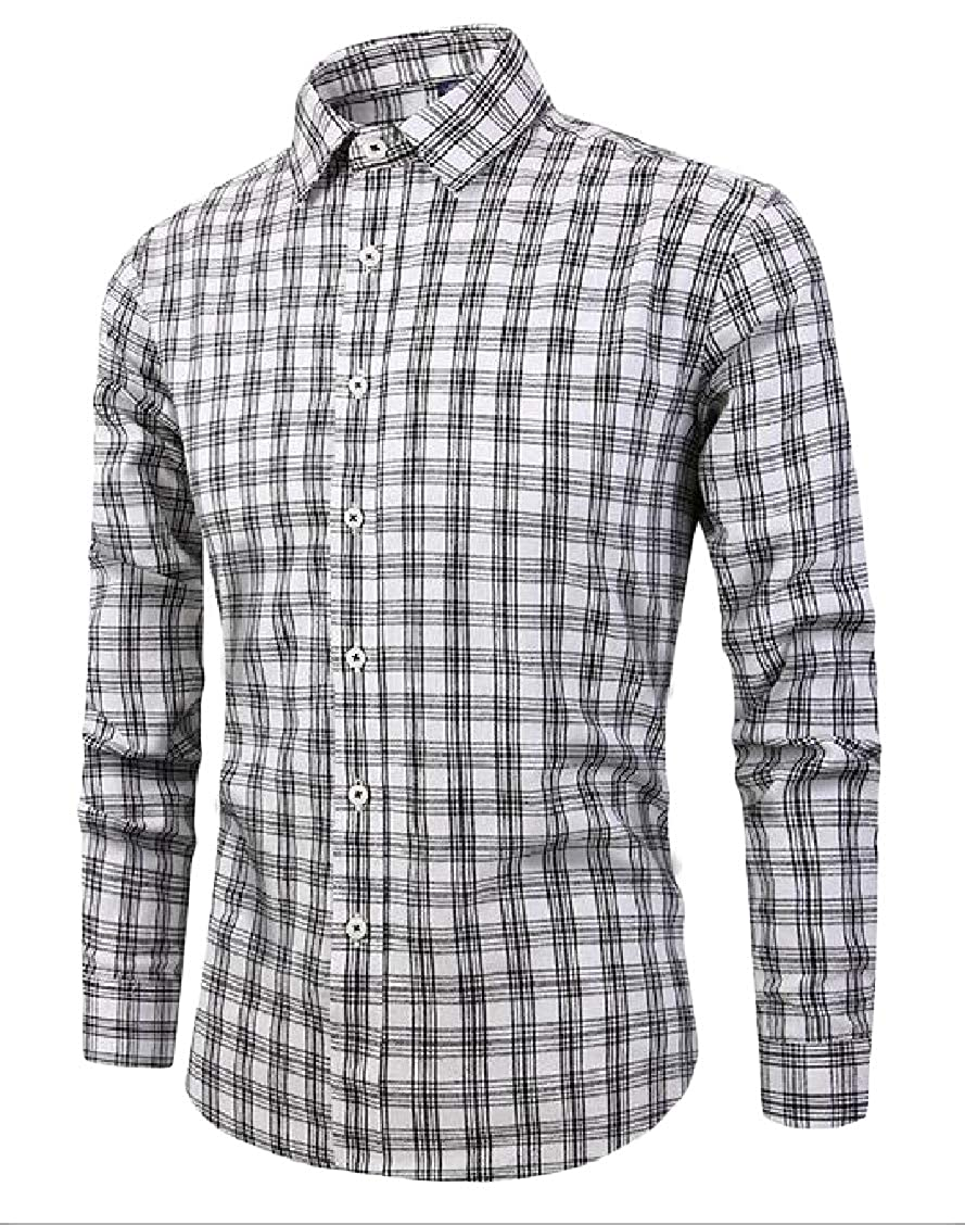 Sweatwater Mens Classic Fit Long-Sleeve Checkered Button Front Buffalo Slim Shirts