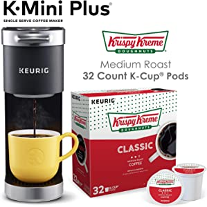 Keurig K-Mini Plus Single Serve Coffee Maker with Krispy Kreme Coffee Pods, 32 count