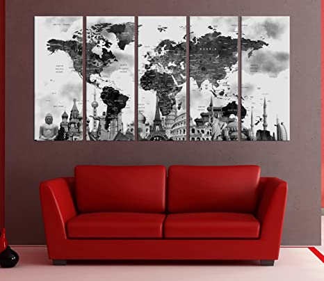 Amazon.com: Black And white Push pin World Map Canvas Print ...