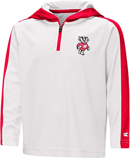 Colosseum Youth Wisconsin Badgers Quarter Zip Pull-Over Hoodie