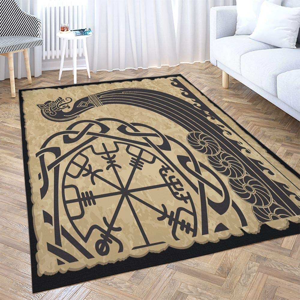 Big Area Rugs,Dethel 5X7ft Area Rug The Vikings Ancient Scandinavian Pattern Norse Runes Modern Home Carpet,Floor Mats for Home Bedroom Carpets, and Easy to Care Carpet