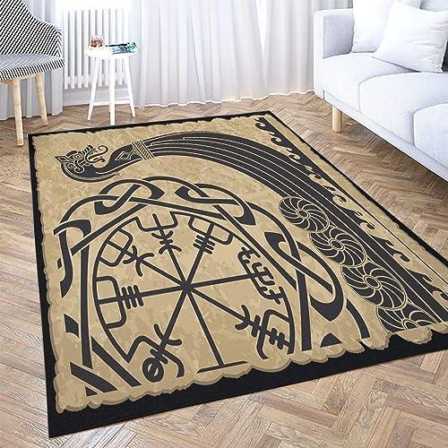 Big Area Rugs,Dethel 5X7ft Area Rug The Vikings Ancient Scandinavian Pattern Norse Runes Modern Home Carpet,Floor Mat