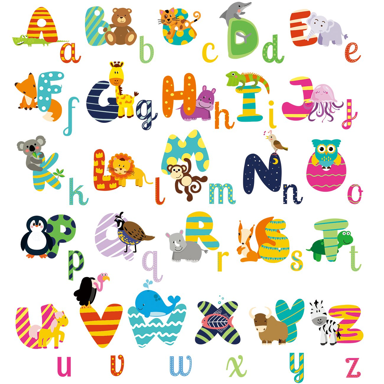 HomeEvolution Large Removable Educational Animal Alphabet Kids Nursery Peel and Stick ABC Wall Sticker Arts Decor