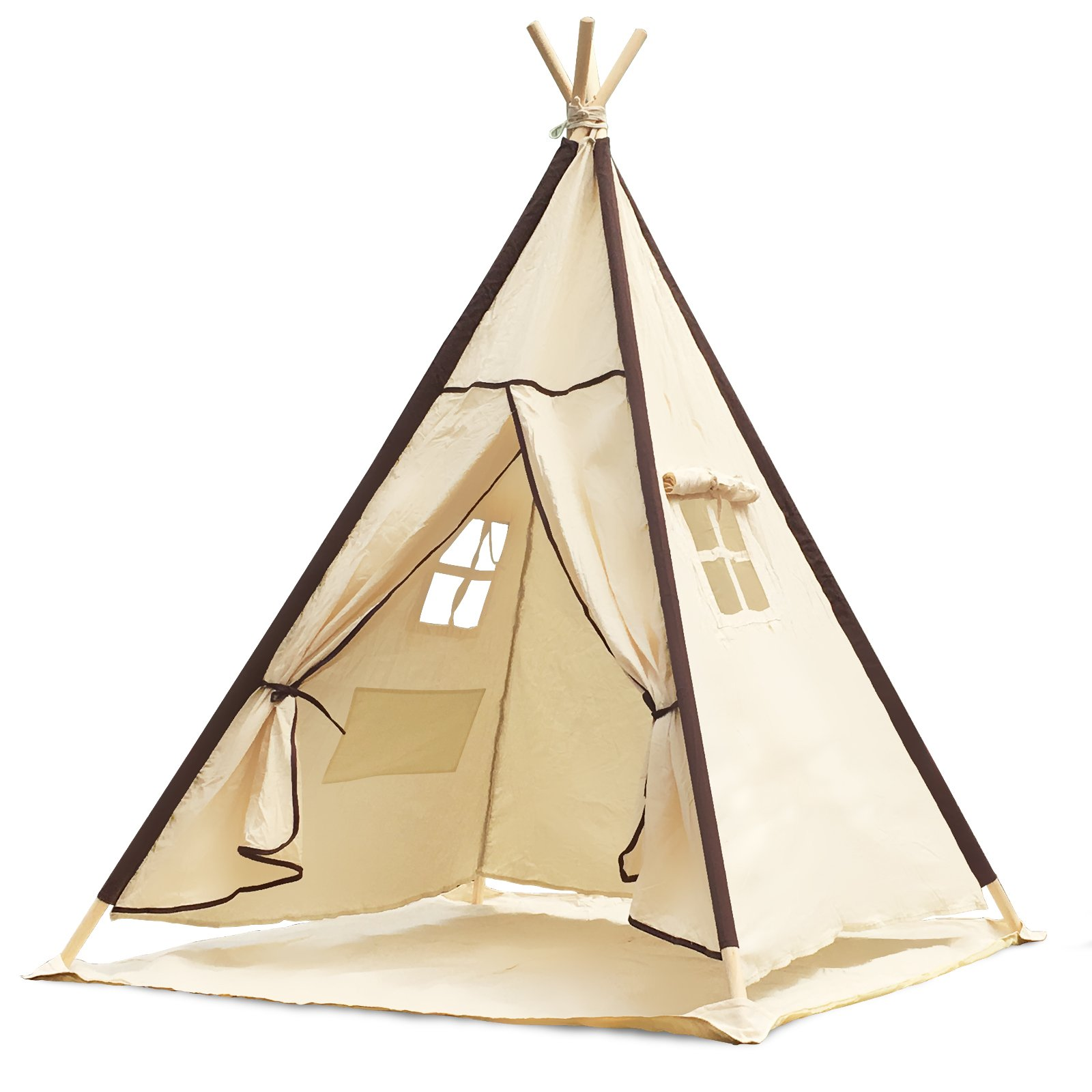 Lavievert Indian Canvas Teepee Children Playhouse Kids Play Tent for Indoor or Outdoor Play - Come with A Water Resistant Bottom Mat by Lavievert