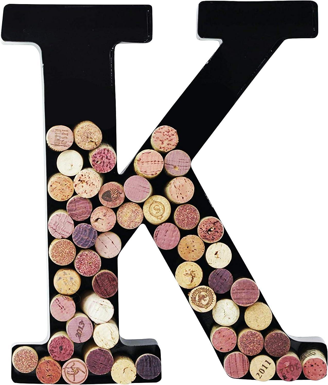 Metal Wine Cork Holder Monogram Decorative Wall Letter (K)