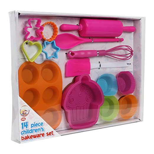 New We Can Cook Childrens Girls 14 Piece Baking Pink Kit Kids ...
