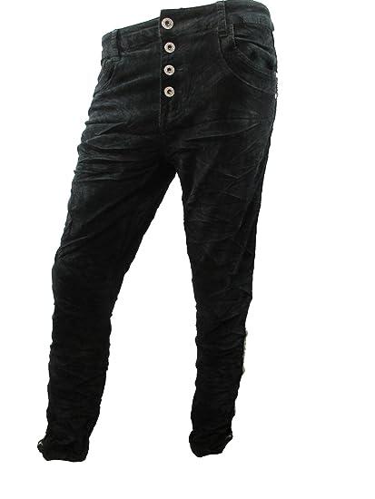 Cord Stretch Baggy Boyfriend Hose 4 Knöpfe offene Knopfleiste seitliche  Streifen Große Größen (M-38, schwarz): Amazon.de: Bekleidung
