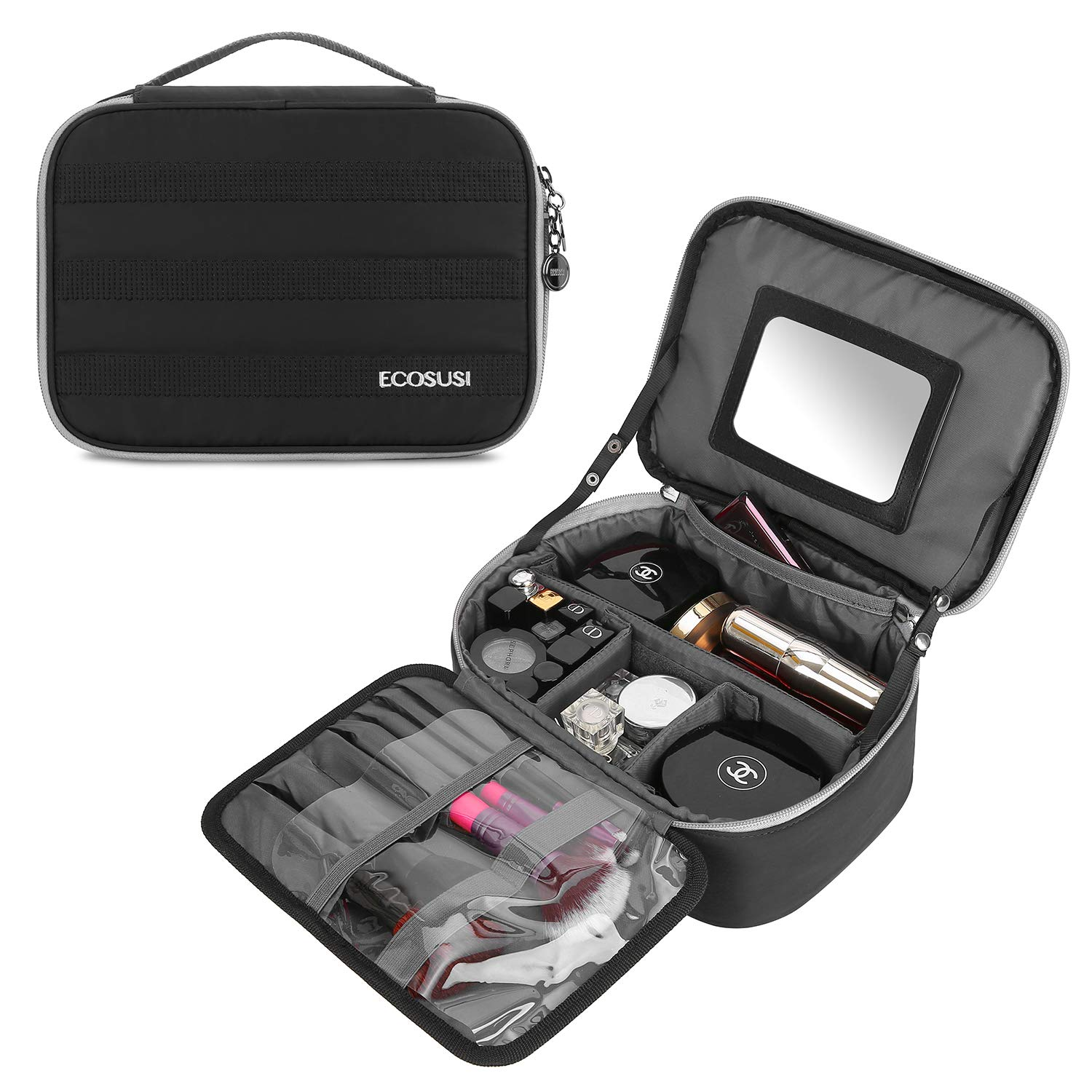 c4ff94c70a0e ECOSUSI Travel Makeup Bag Cosmetic Bag Organizer with Removable Mirror and  Adjustable Dividers