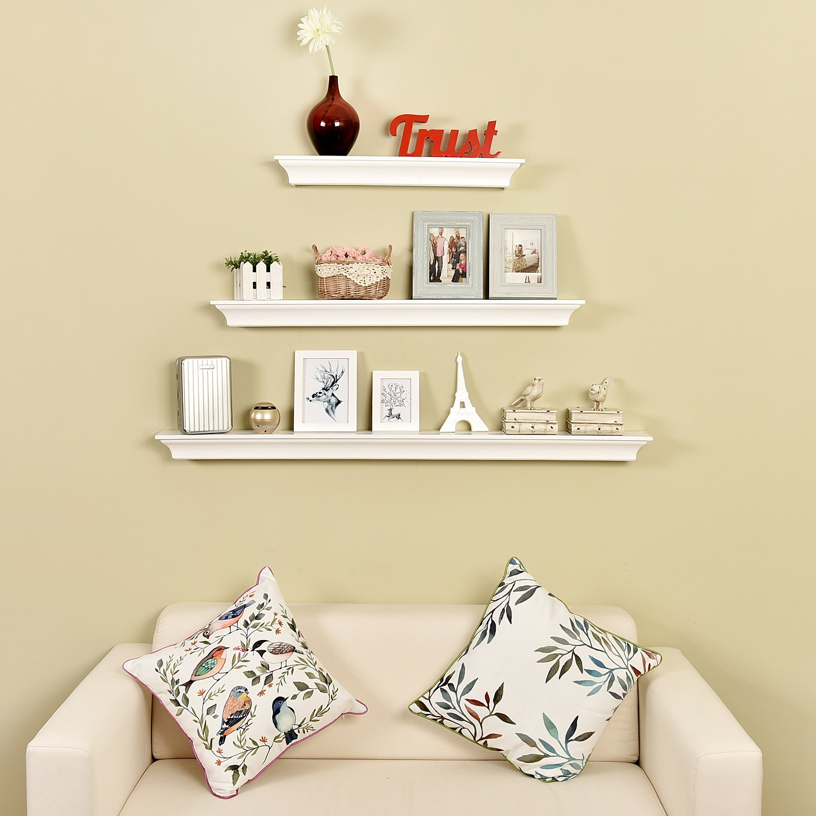 WELLAND Simple Classic Wall Floating Shelf Crown Molding Mantle ...