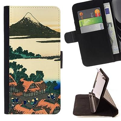 FJCases Arte Japonés Pintura Carcasa Funda Billetera con Ranuras para Tarjetas y Soporte Plegable para Samsung Galaxy S9+ (S9 Plus)