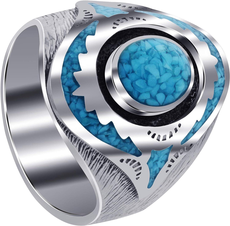 Men's Turquoise Gemstone Inlay Mosaic Design Sterling Silver Ring