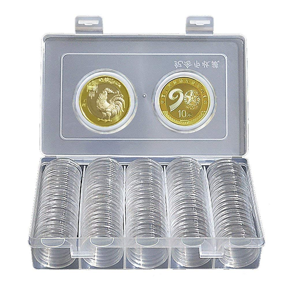 Kytree Clear Coin Holder Capsule Display Case Round Boxes Collectibles for 100Pcs 30mm Coins