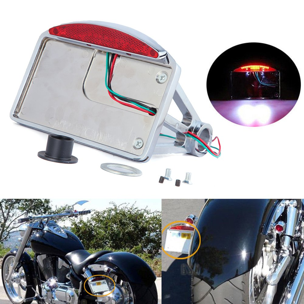 Chrome Motorcycle 1'' Side Mount License Plate Frame Tail Light Brackets for Harley Chopper