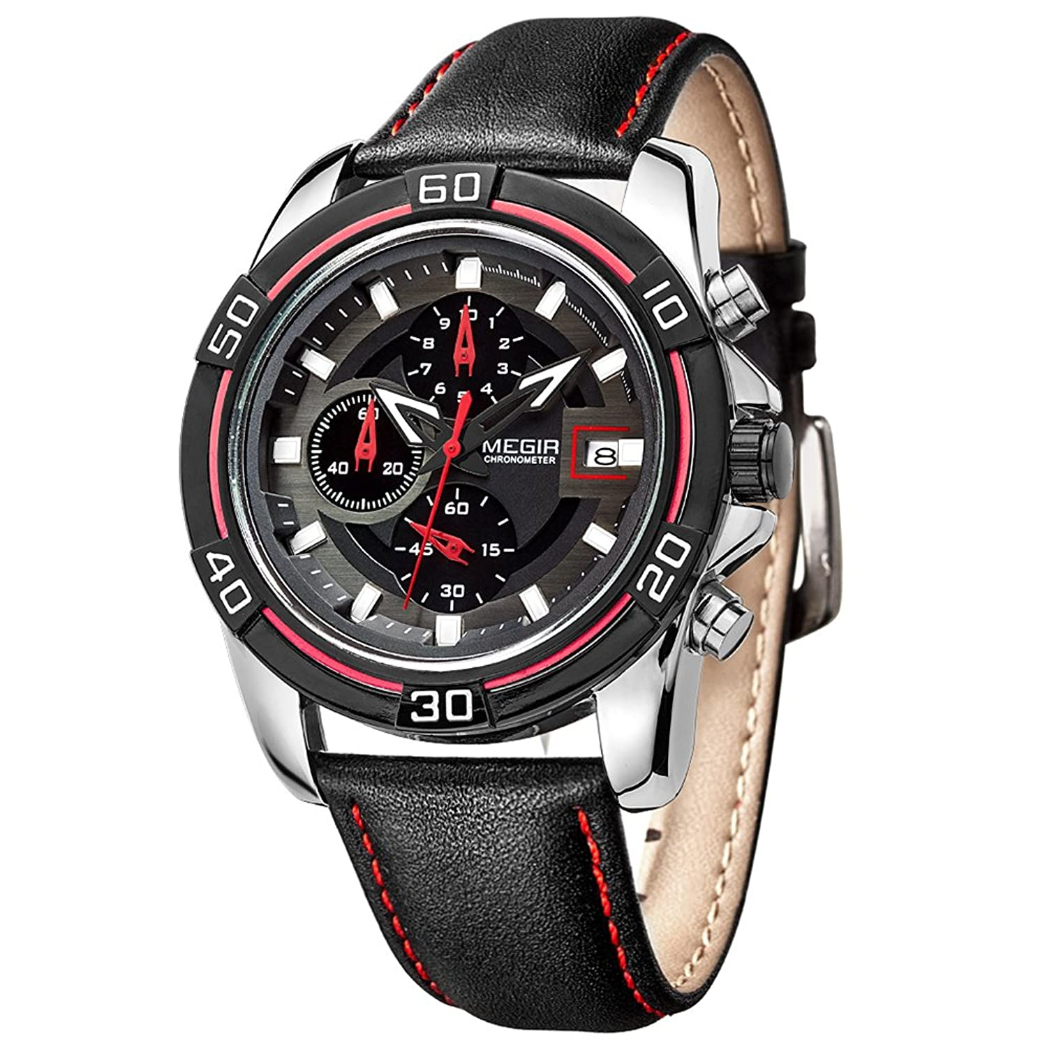 Amazon.com: MEGIR Sport Designed Watches Men Leather Strap Quartz Wrist Watch Chronograph relojes hombre: Watches