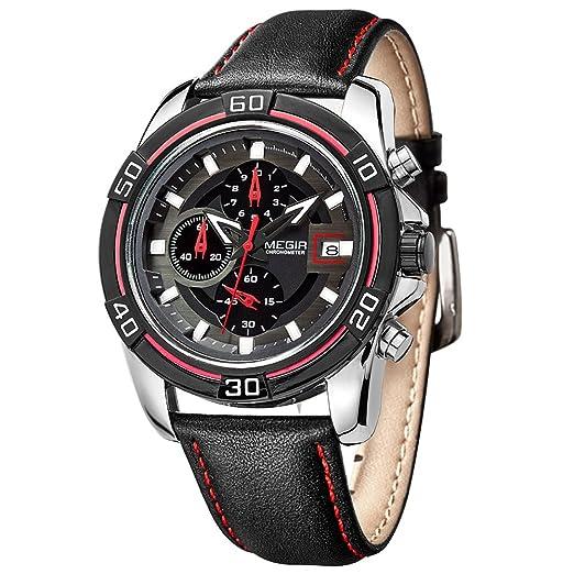 Marca hombre MEGIR relojes cronógrafo de cuarzo reloj con correa de piel relojes hombre: Amazon.es: Relojes