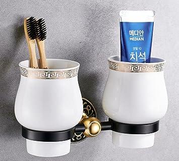 ZHANGY Portacepillos de baño Taza de Pared de baño Taza de Porcelana Vintage Pasta de Dientes 2 Tazas Accesorios de Hardware de baño: Amazon.es: Hogar