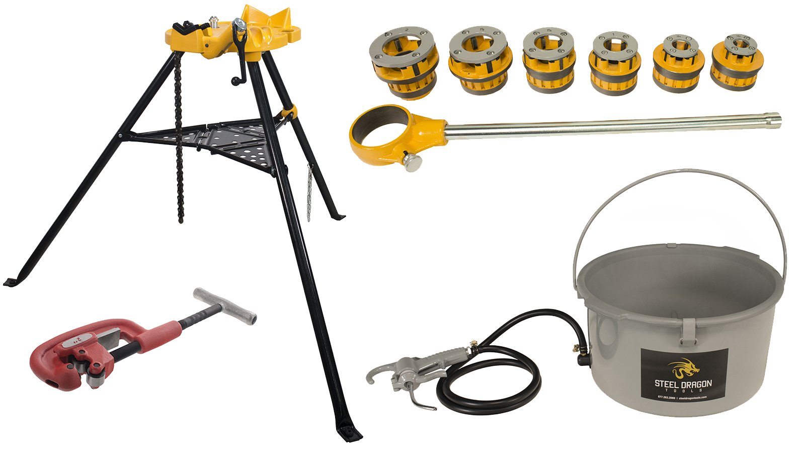 Steel Dragon Tools 12-R Manual Ratchet Pipe Threader Kit,418 Oiler, 460 Chain Vise, 2A Cutter