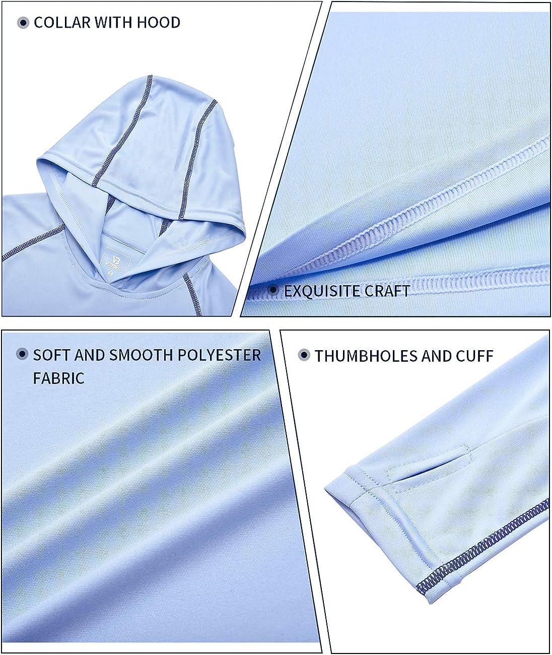 VEOBIKE Youth UPF50 Sun Shirts Rashguard Quick Dry Long Sleeve Hoodies T-Shirts for Workout Thumbholes
