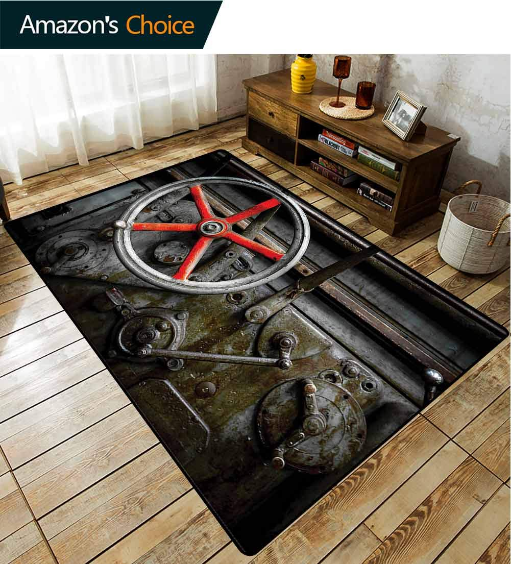 TableCoversHome Industrial Geometric Floor Comfort Mats, Old Technology Workshop Pattern Printing Rugs, Easy Maintenance Area Rug Living Room Bedroom Carpet (2'x 6') by TableCoversHome