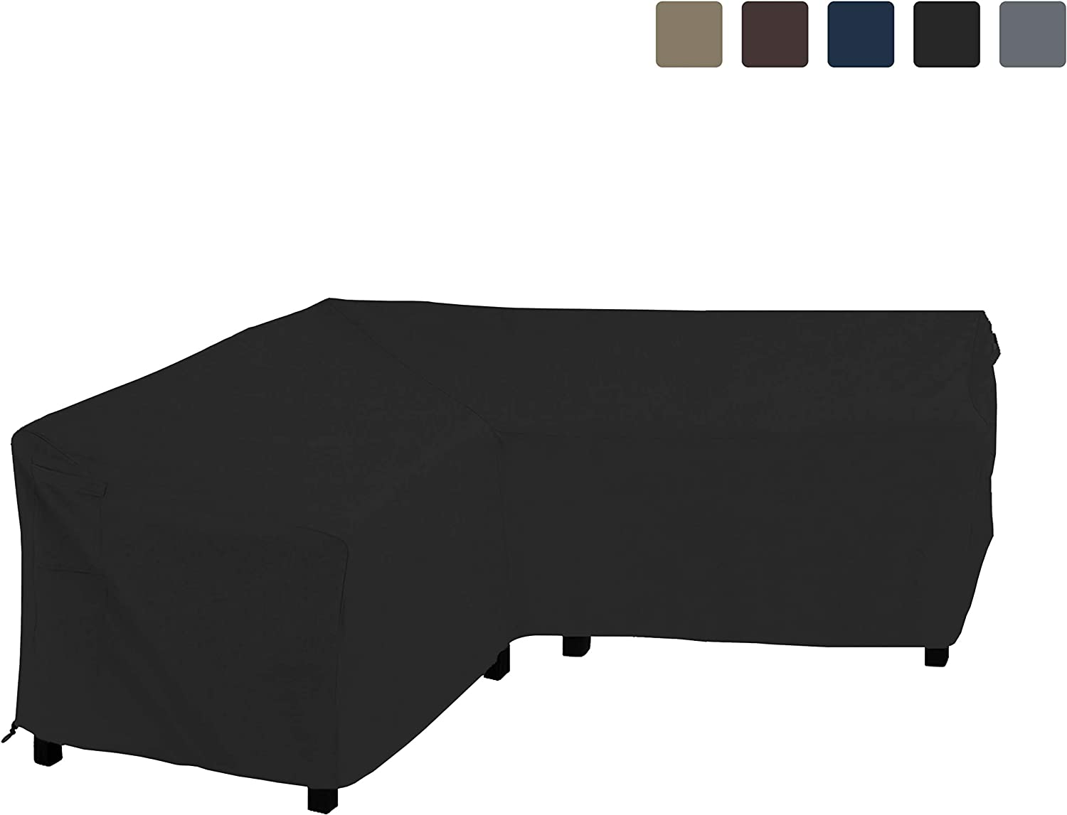 COVERS ALL Patio Sectional Sofa Cover 12 Oz Waterproof – 100 UV Weather Resistant PVC Coated 80 x 80 x 35 D x 33 H – L Shape Sofa Cover for Indoor Outdoor V Shape Sofa, Black