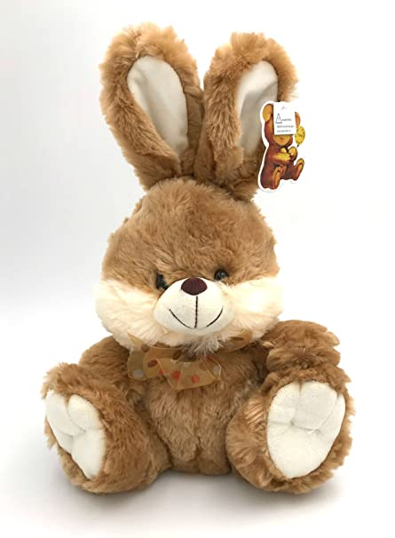 Amazon Com Brown Bunny Fluffy Plush Toy With Lighted Cheeks And