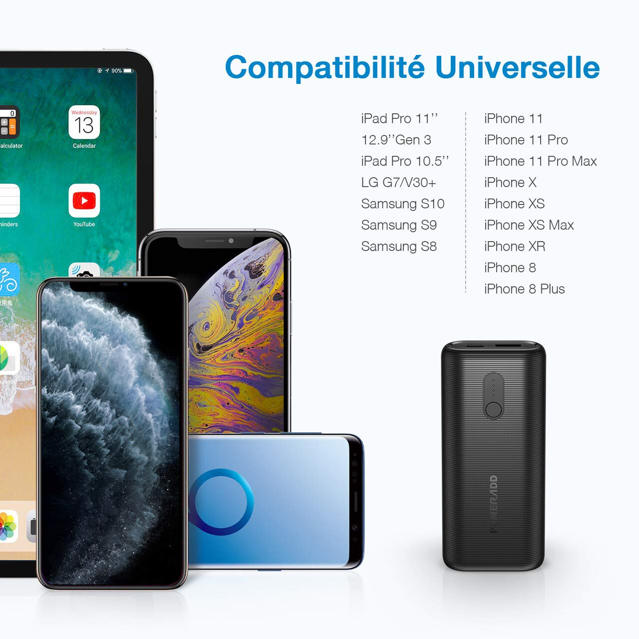 POWERADD EnergyCell II 10000mAh Batterie Externe 18W PD Ultra Mini avec Port Entrée et Sortie USB C Power Delivery Charge Rapide pour iPhone Huawei Samsung Wiko-Noir