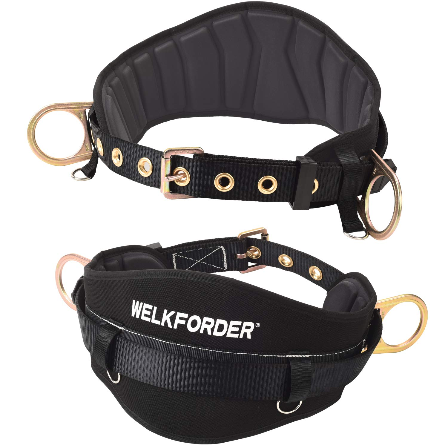 WELKFORDER Tongue Buckle Body Belt With Hot-Pressing Waist Pad and 2 Side D-Rings Personal Protective Equipment Safety Harness | Waist Fitting Size 32'' to 46'' for Work Positioning, Restraint