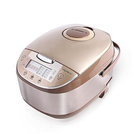 Aigostar Golden Lion 30HGY - Robot de cocina multifunción, con capacidad de 5 litros, libre de BPA. Potencia 918 W, 11 funciones programables en su gran pantalla LED, tapa extraíble y lavable, temporizador programable y función mantener caliente. Diseño exclusivo.