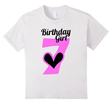 Kids 7 YEAR OLD BIRTHDAY GIRL Shirt With Hearts 7th BDay 4 White