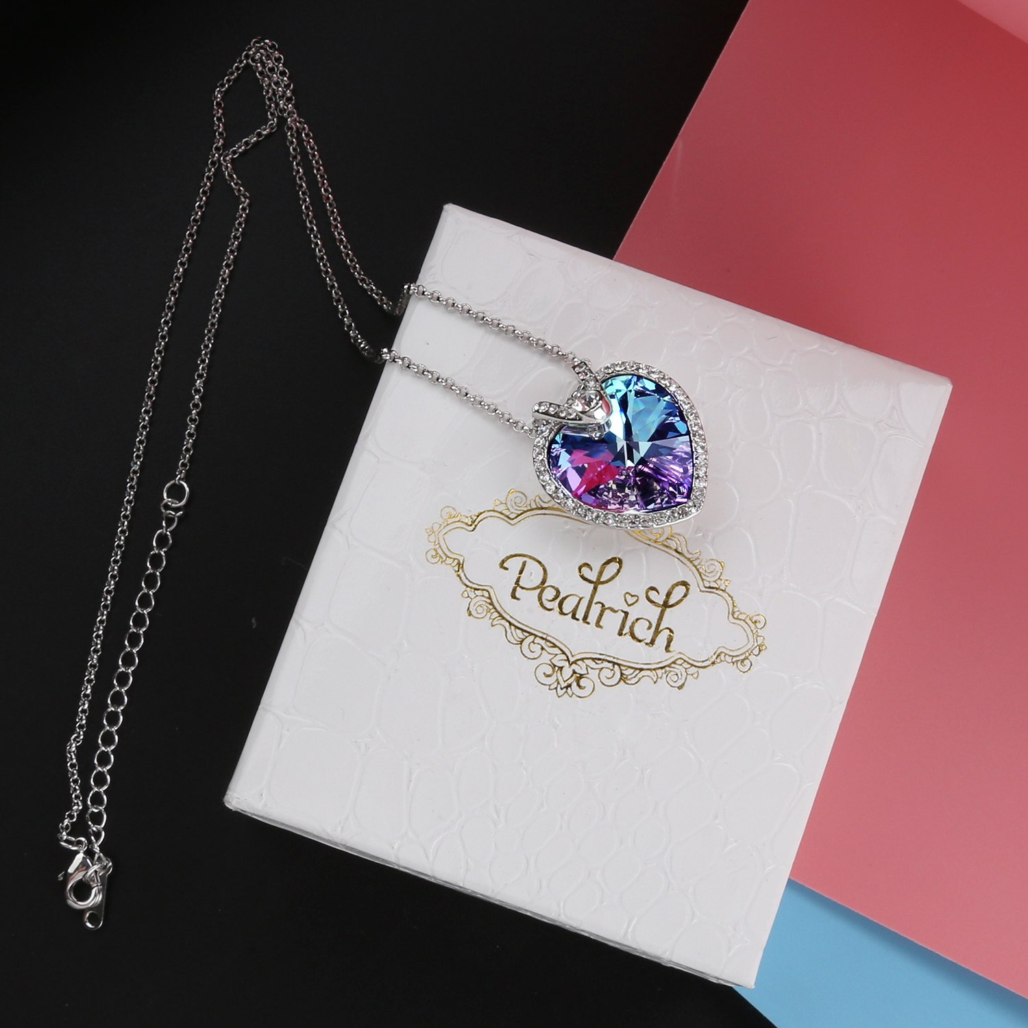Mothers Day Gift Pealrich Fashion Silver Mystic Heart Shaped Love Pendant Necklace for Women with Swarovski Crystal Elements 18\
