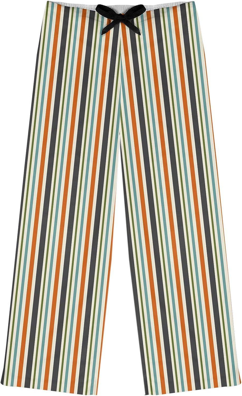 Personalized RNK Shops Orange /& Blue Stripes Womens Pajama Pants S