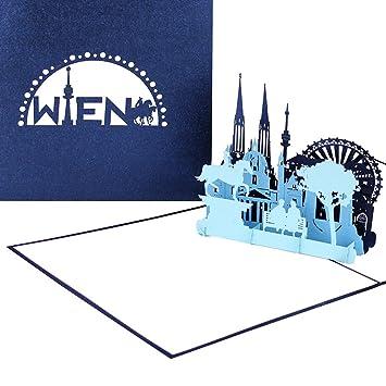 3d Karte Osterreich.Grusskarte Wien Panorama Mit Riesenrad 3d Pop Up Karte Mit Wiener Skyline Stadtekarte Als Souvenir Einladung Reisegutschein Zum City Trip