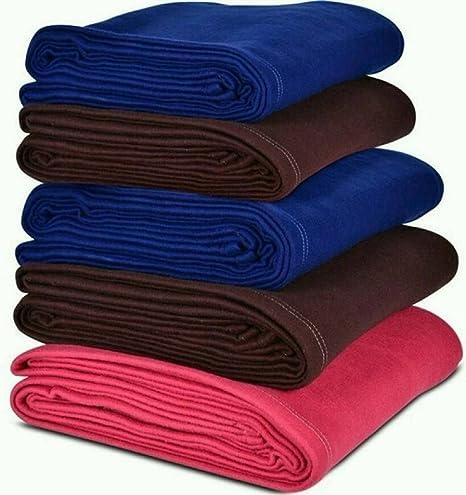 Sneha Polar Fleece Single Bed Blanket Set of 5-RED & Brown & Blue