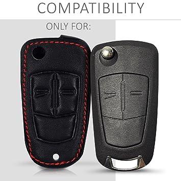 kwmobile Funda para Llave Plegable de 2 Botones para Coche Opel Vauxhall - Cubierta de [Cuero sintético] - Case para Mando y Control de Auto en ...
