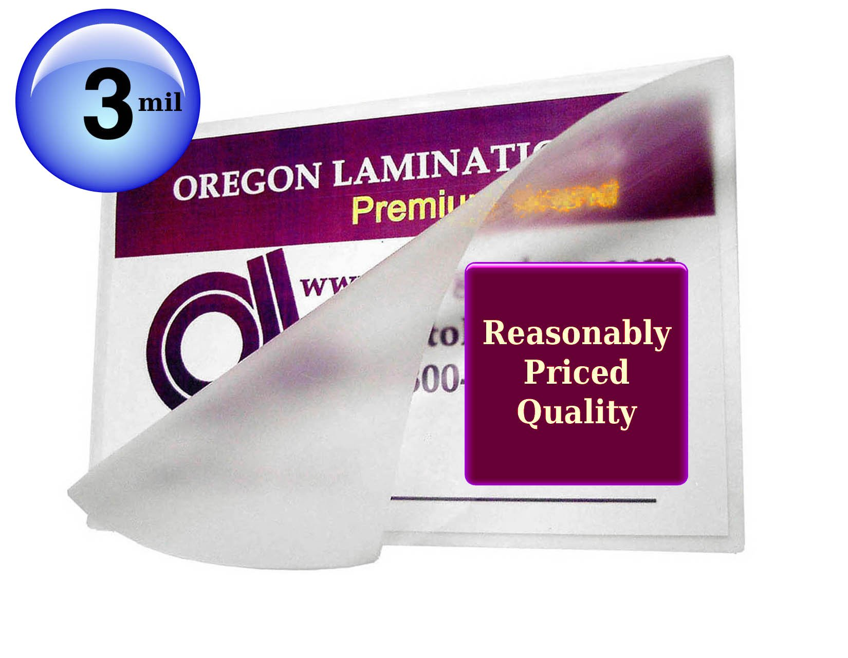 Oregon Laminations Premium 3 Mil Letter size Hot Laminating Pouches 9 x 11-1/2 (Pack of 1000) Clear
