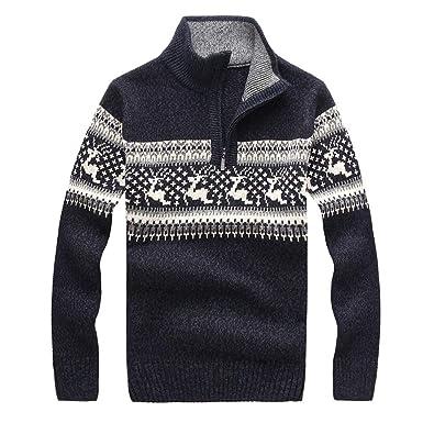 Celucke Weihnachten Norweger Pullover Herren Strickjacke Cardigan  Strickpullover Feinstrick Langarm mit Reißverschluss Stehkragen 0959f28853