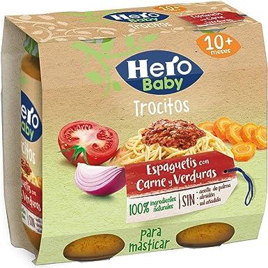 Hero Nanos Potito de Espaguetis con Carne y Verduritas con Trocitos para Masticar para Bebés a partir de 12 meses Pack de 2 x 250 g: Amazon.es: Alimentación y bebidas